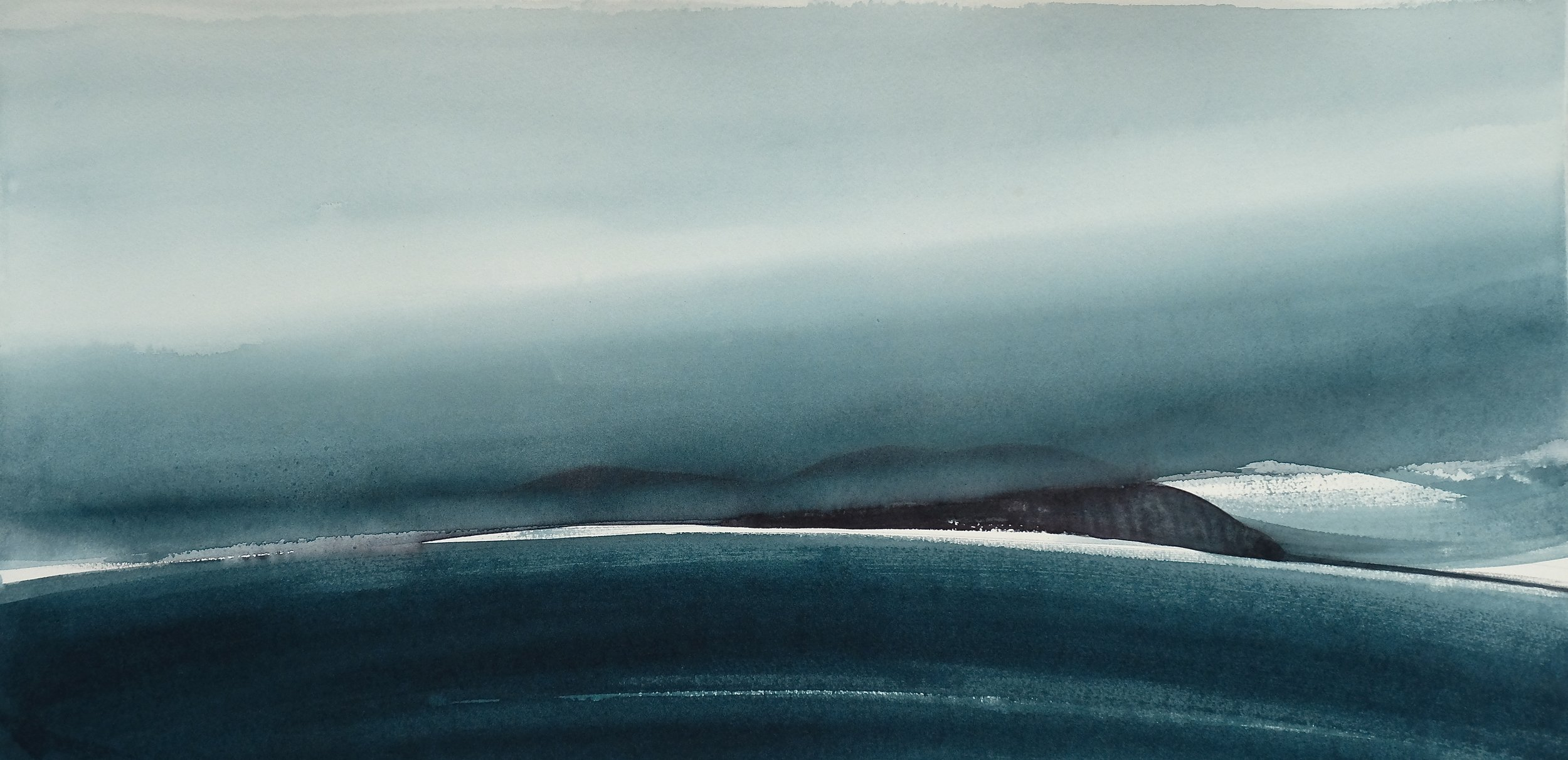 na h-Eileanan Seunta study 9 watercolour on TH Saunders Waterford 38 x 77 cm