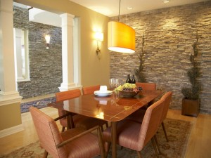 2 - stone wall in dining room