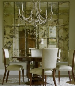 2 - vintage mirror on walls in dining room