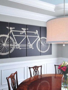 2 -  wainscoting and large print on dining room wall