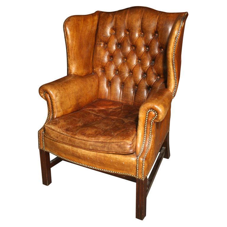 Tufted Leather Style wingback chair