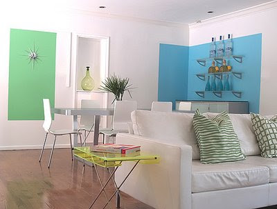Turquoise-Hollywood-Hills-Home-Living-Dining-Room-dining-room-color-block-wall-sunburst-wall-art-niche-white-modern-chairs-frosted-meta-glass-dining-table-open-shelves-living-room