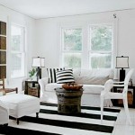 black and white striped rug - 07ad51daa959