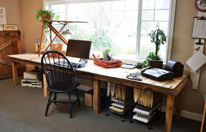 rustic desk - pallet farm table desk funky junk