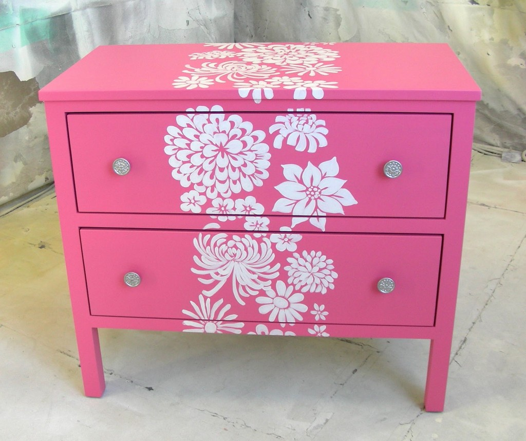 Pink Nightstand with White Flowers