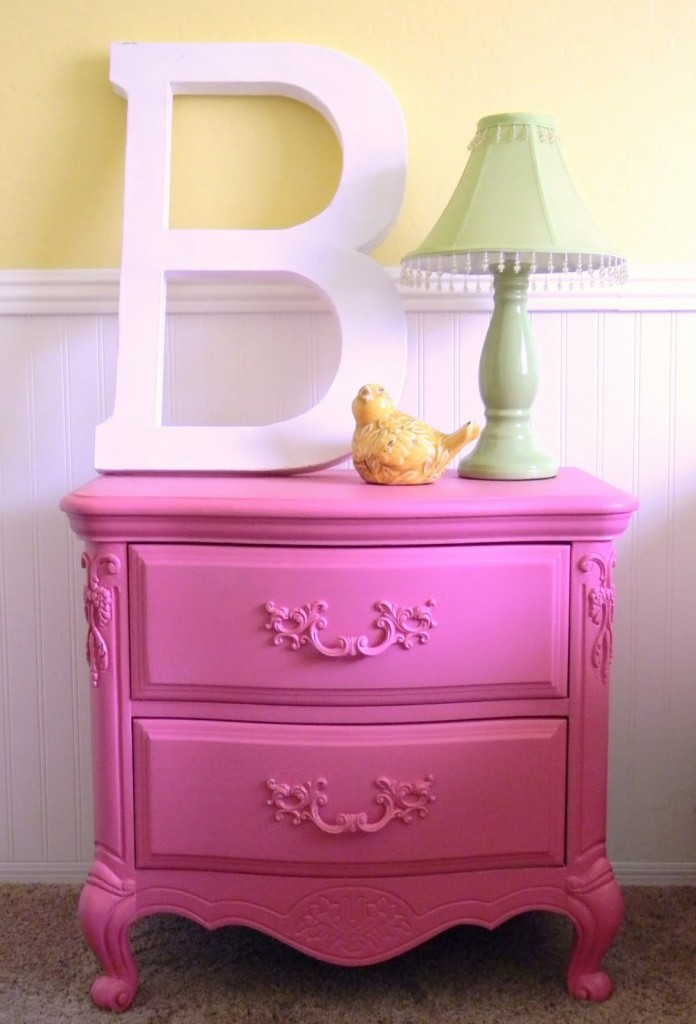 hot pink nightstand with B - 004