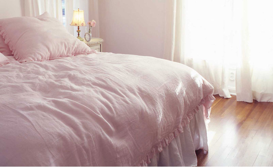 pink linen duvet set - two2