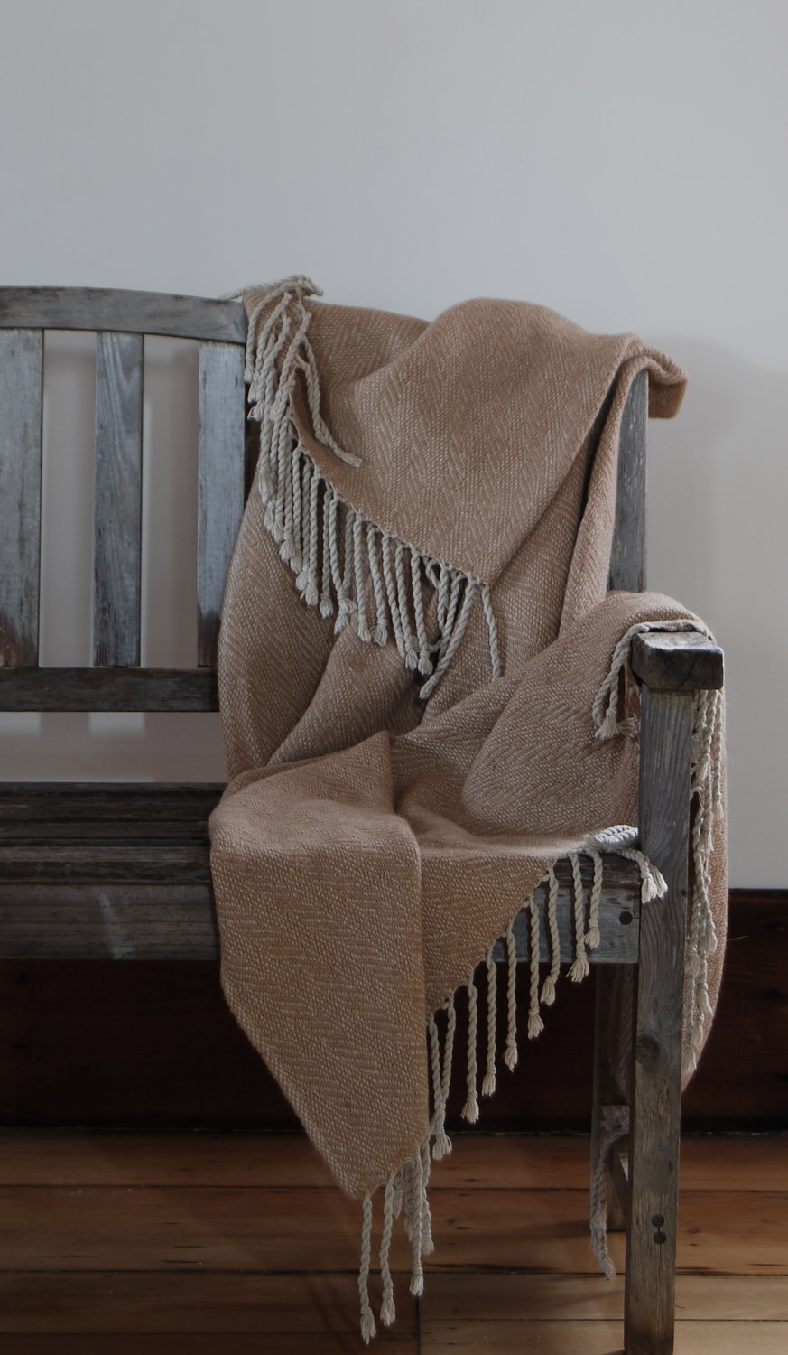 hand-made throw blanket on wood bench - il_fullxfull.334861616