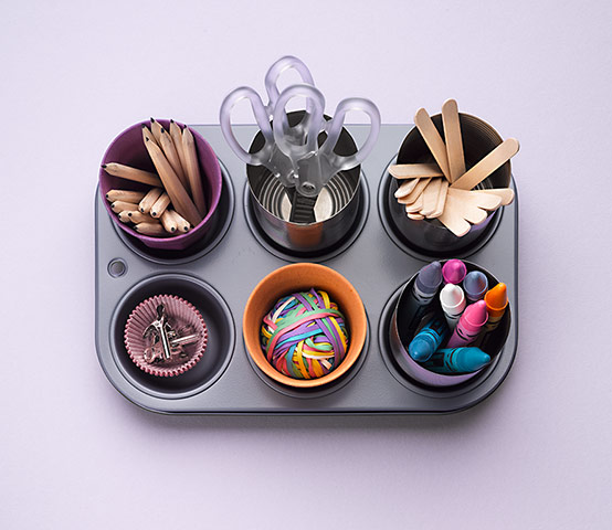 Homes Organsiation Feature: Children's art material in tin cans