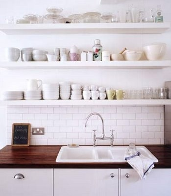 open shelves in kitchen