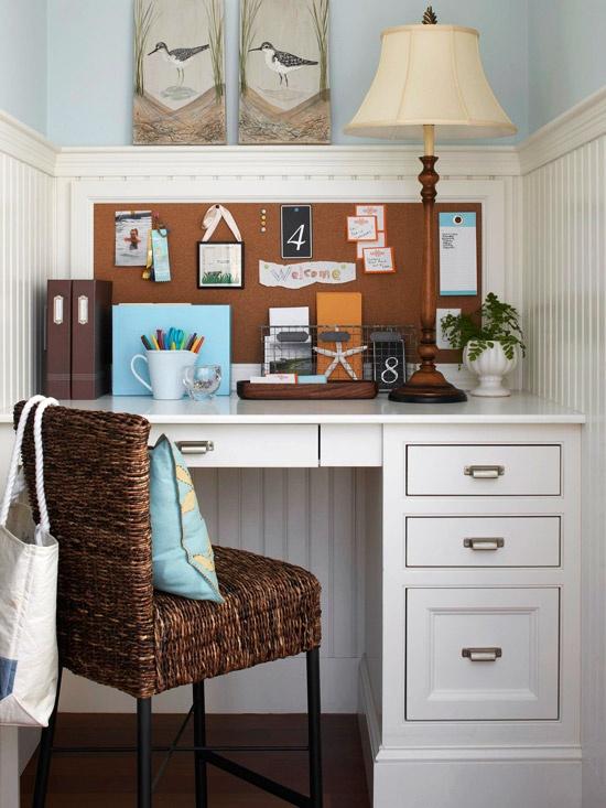 home office in hallway nook