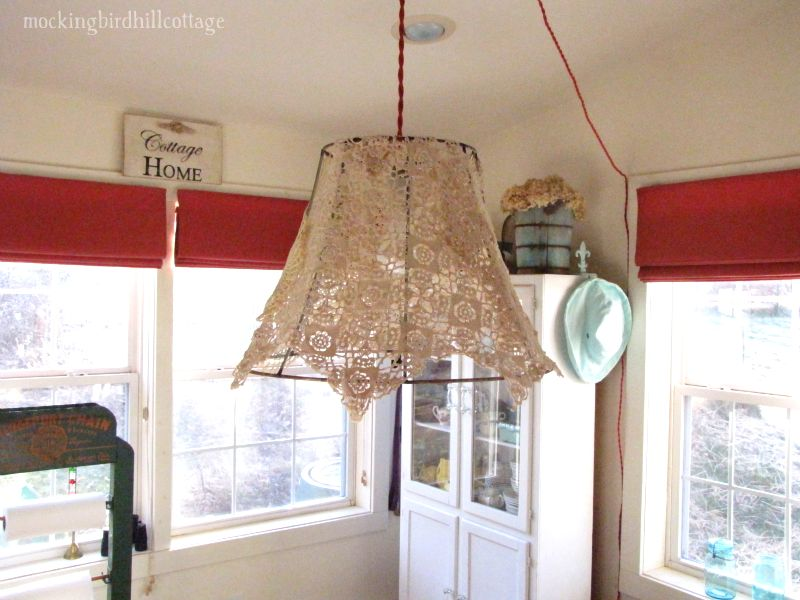 14 - red and white chandelier swag