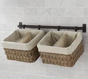 baskets on towel rod