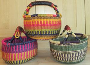colourful bolga baskets