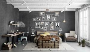 charcoal walls - Industrial-bedroom-scheme