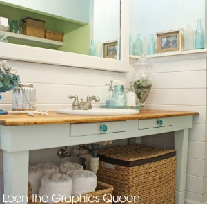 rustic bathroom with green knobs
