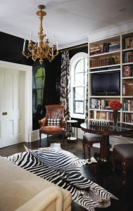 21 - lacquer walls zebra rug black and white