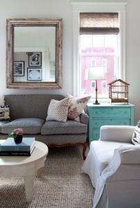 271 - slipcover sofa - sisal rug - turquoise dresser