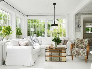 271 - white painted floors white slipcover sofa vintage chair