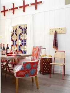 flower chairs in dining room