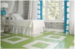 painted wood floor - green and white design