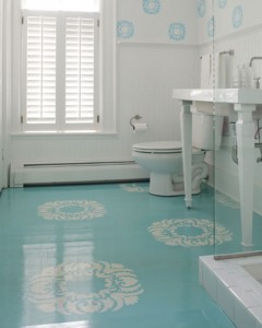 painted wood floors - turquoise bathroom