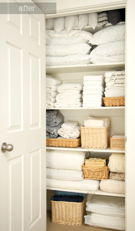 a neat linen closet is everyone's dream - resolve to get rid of anything you haven't used in a year and tidy things up with all your extra space