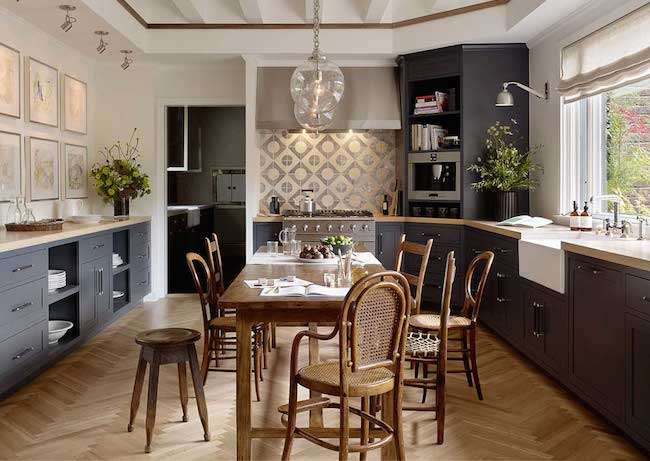 A true eat-in kitchen is shown here, where you can have formal and casual meals alike.
