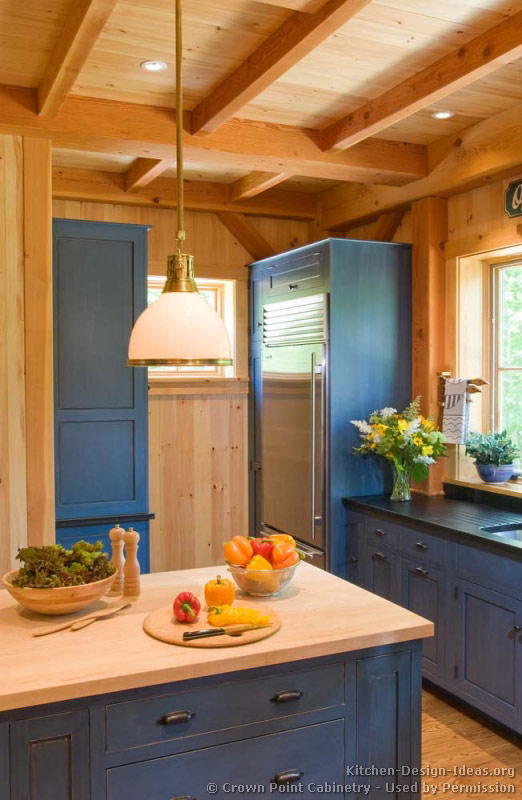 kitchen-cabinets-traditional-blue-002-cp050h-log-home-wood-countertop-built-in-refrigerator.jpg