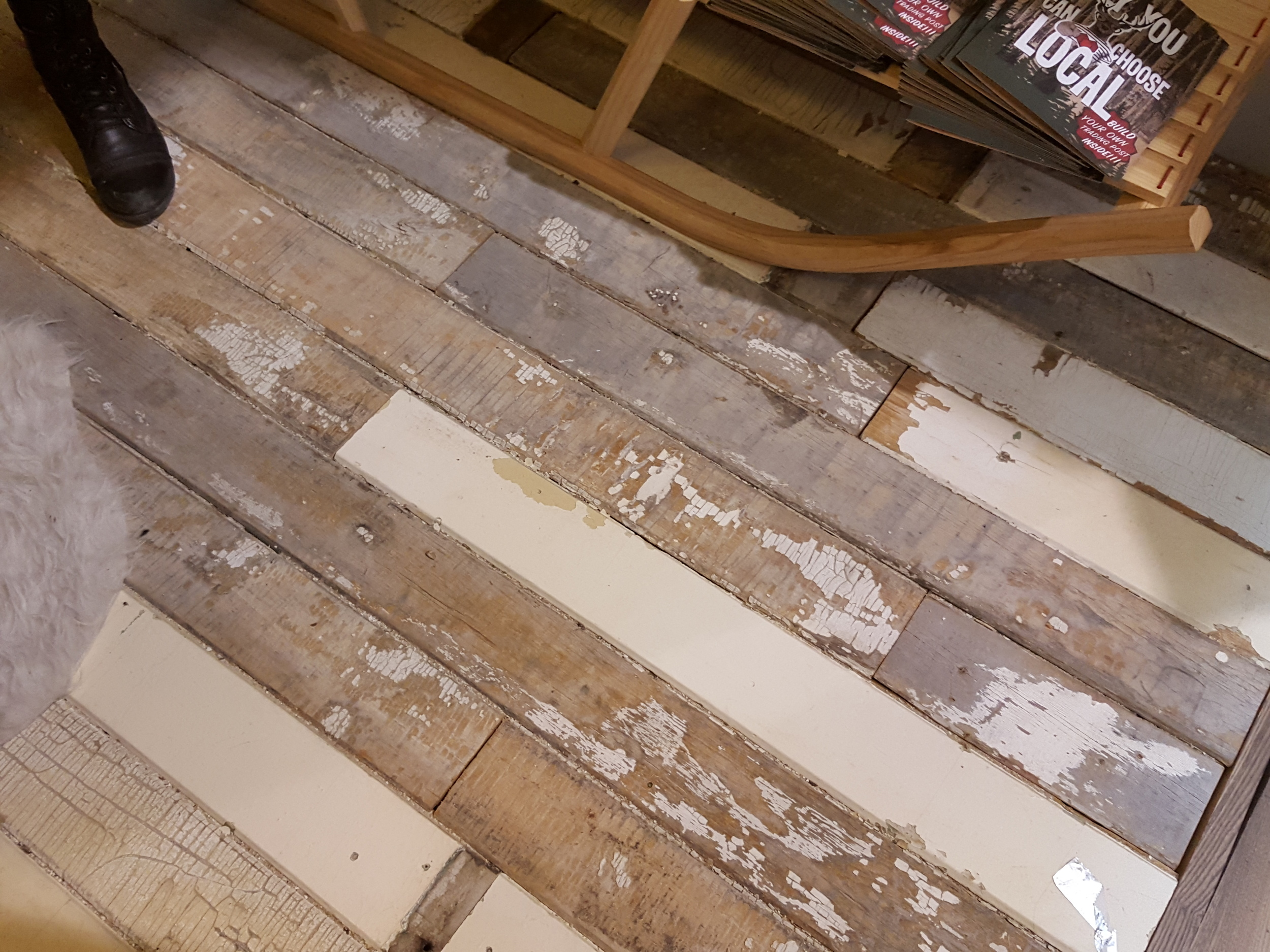 I fell in love with these rustic recycled floors!