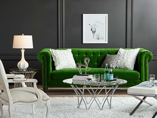 Dark green velvet is hot this year! But if the idea of an expensive sofa screams too much commitment, do consider a couple of velvet throw pillows on a more neutral sofa instead.
