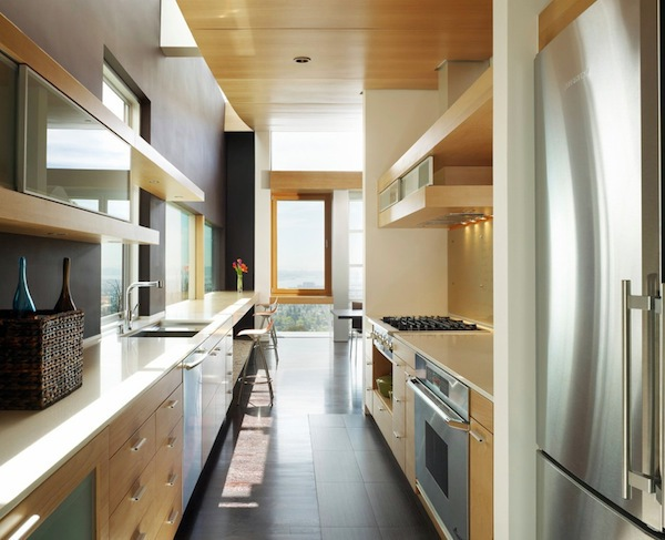 The open concept home is starting to take a back seat, with a little bit of room division coming back for a more quiet environment. This modern galley kitchen is a perfect example.