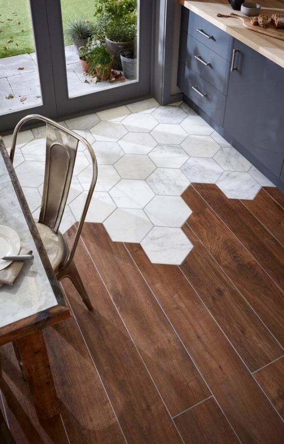 The interrupted floor - do this only if you love something different. It does make for a practical transition for entries.