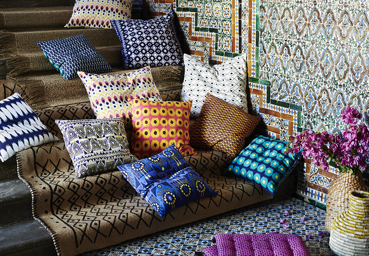"No surprise that patterned pillows are hot too. For $4.99 for a 20"" square toss cushion cover, the JASSA prints are right on trend. And they're reversible with a different look on either side too!"