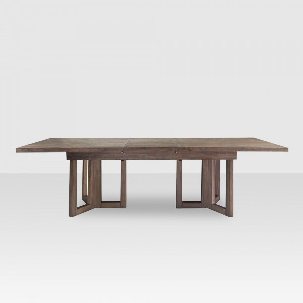 "This solid oak extension table from ELTE has beautiful architectural lines and an easy care rustic finish. The extension leaf is a comfortable 20"" wide."