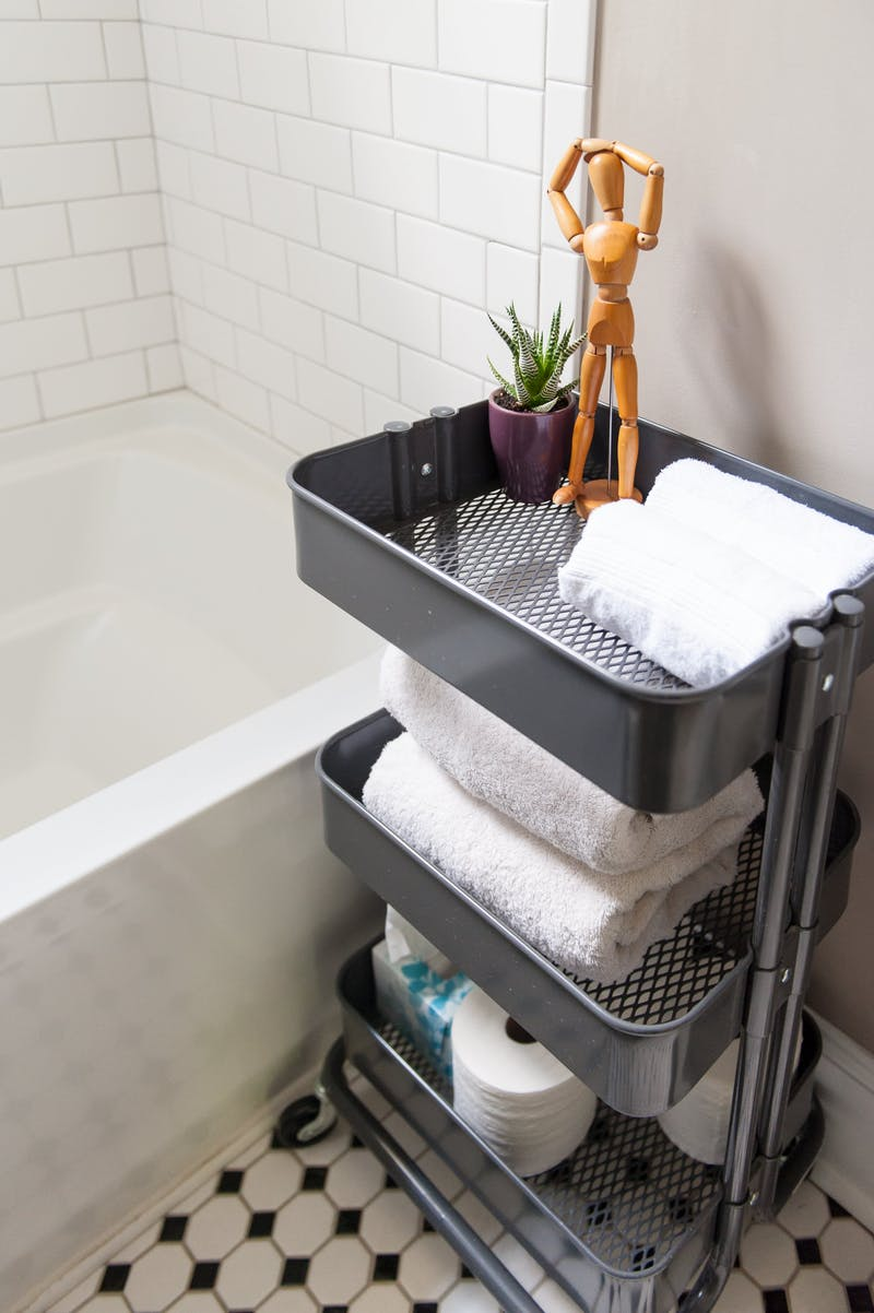 The Raskog cart from Ikea is one of my favourite pieces for anywhere in the house, and is really practical in the bathroom for all sorts of things.