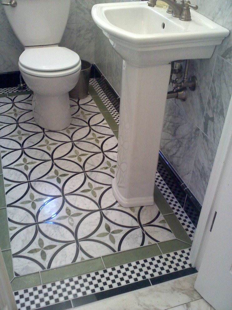 Since it's so small, splurging on an elaborate floor tile that you love won't break the bank.