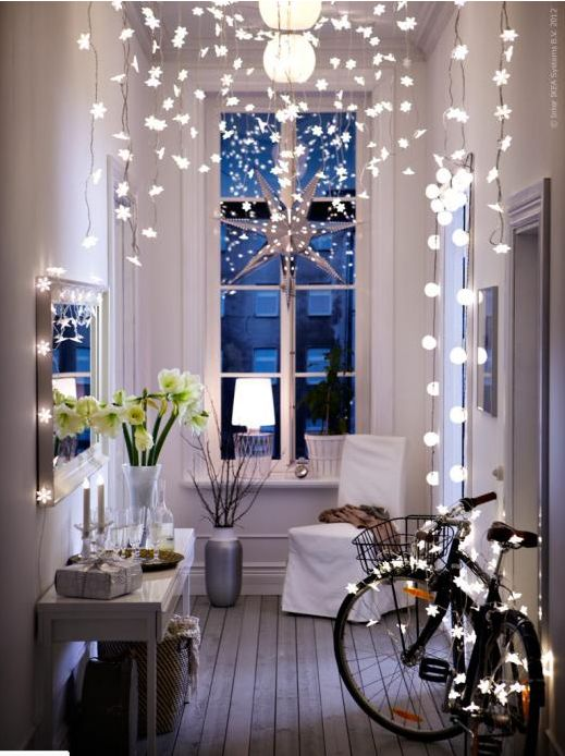 And lastly, add some lights! Twinkle lights are not just for outside and can add so much drama and charm.