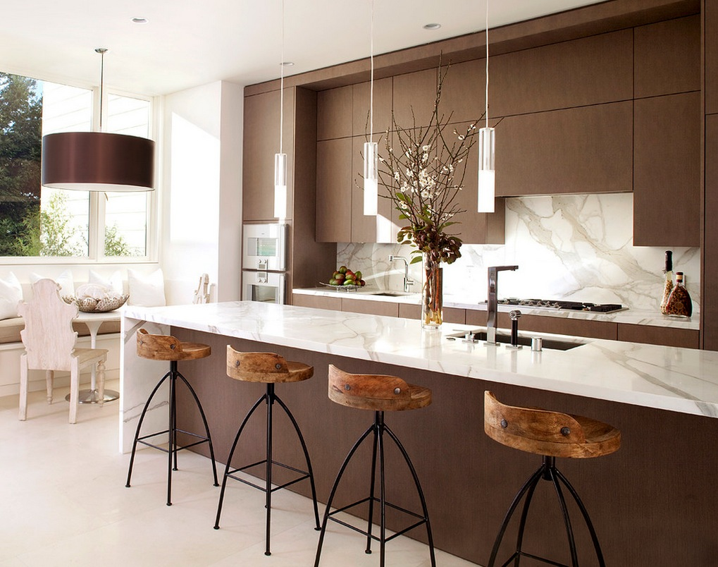 Flat panel kitchen cabinets - and mixing white with wood.