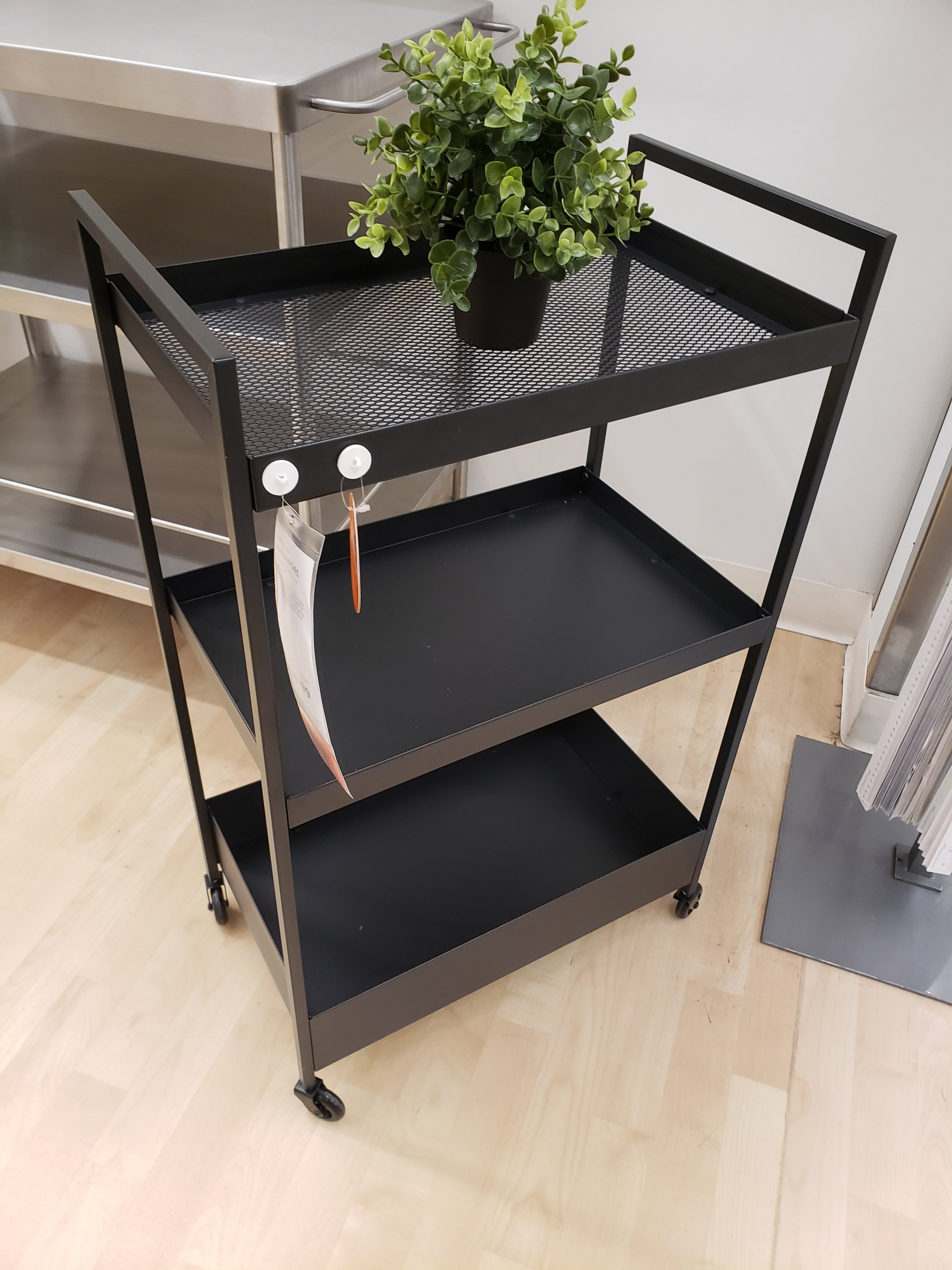 - The new Nissafors bar cart is easily 'hacked' by spray painting it any colour, or adding glass or wood to the shelves as you like. But as is for $36.99, it's a bargain for inside or even outside. Check it out here.