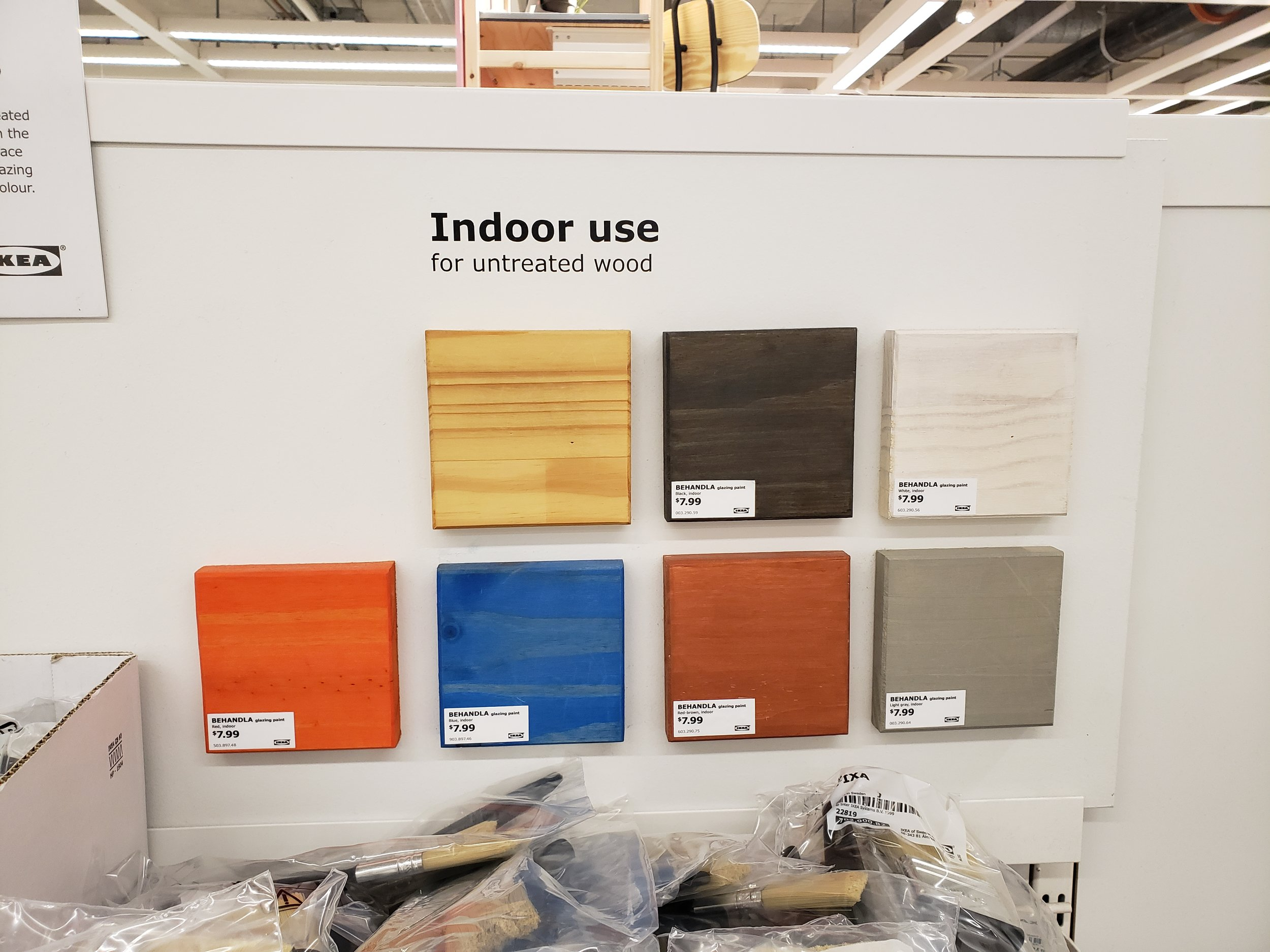 - Look at the range of colours for these beautiful stains for your unfinished wood pieces. What a treat to have options like this at your fingertips! See what Ikea has to say about it here.