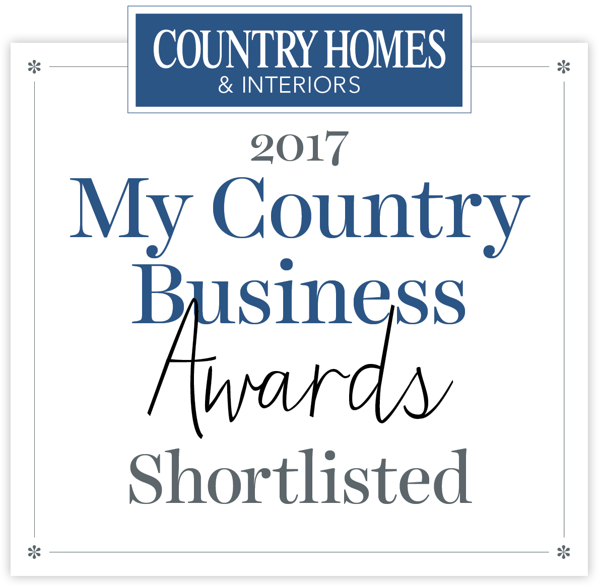 We are delighted to announce that once again we have been shortlisted for the Country Homes & Interiors My Country Business Awards 2017, under the home accessory crafters and makers category. This is the third year we have been lucky enough to be shortlisted, so we are hoping that this year is our year!  Winners will be announced on the 3rd July. Keep your fingers crossed for us!
