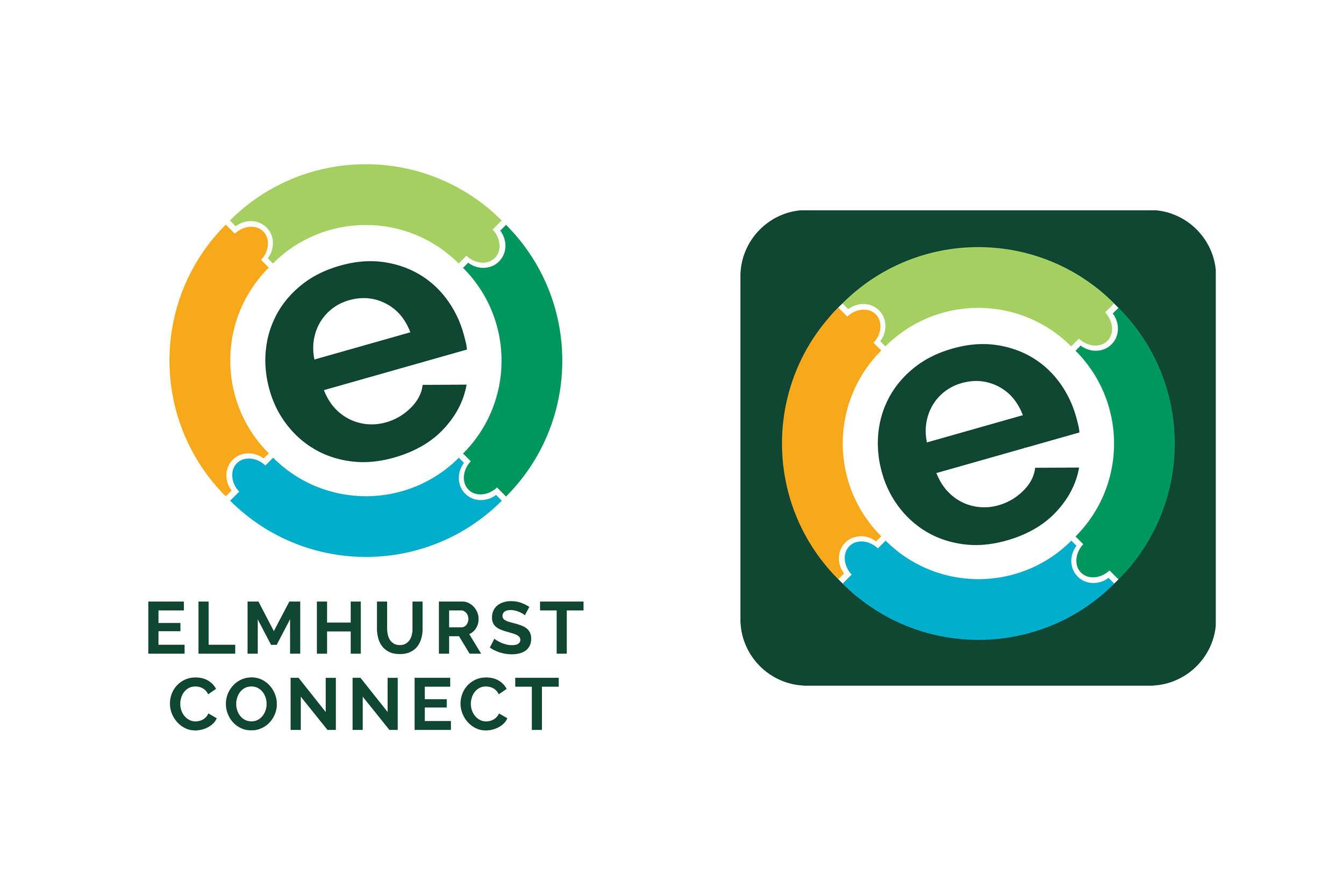 Elmhurst Connect - Elmhurst Connect is an app for all residents to get information, stay up to date on events, and communicate with town officials. It was important to create a truly unique badge app icon and symbol that would represent this app across all platforms. View the gallery below to see the creative process from sketchbook to final logo.