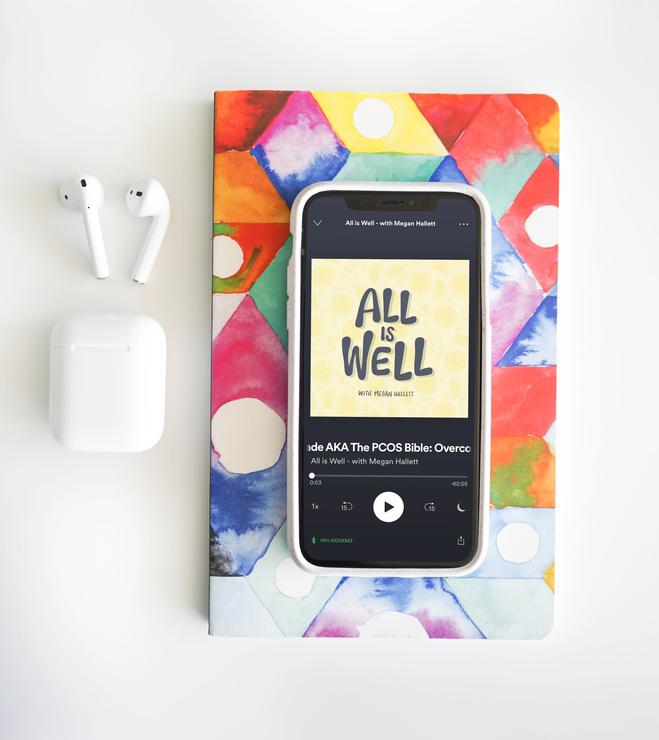 All is Well Podcast Cover - All is Well is a health and wellness podcast by Megan Hallett. She reached out to me via instagram to create a custom piece of art for her podcast cover and we worked together to make this cover. She wanted to incorporate a lemon drop background, inspired by one of my previous pieces, and incorporate my unique hand lettering style for the title. In the end, it was such a fun creative process and amazing to see my work live on Spotify!