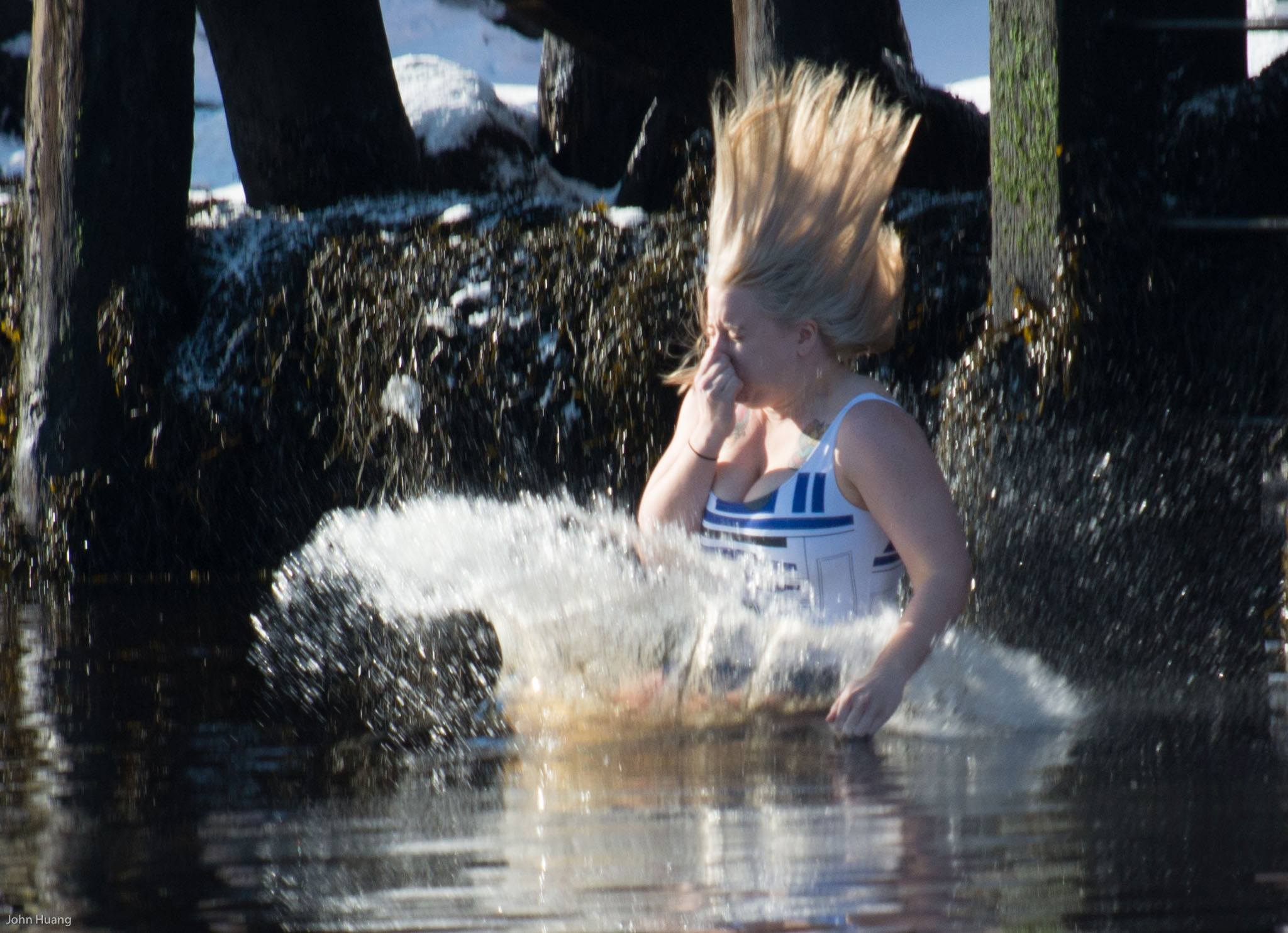 PAVIA's Christina Baker enters the 5 degree water for charity!