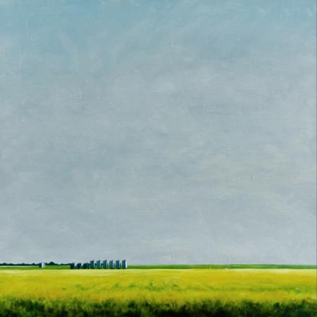"""'Erosion - Grain Silo' - 48"""" x 48"""" - Oil on canvas, paper - 2008 : SOLD"""