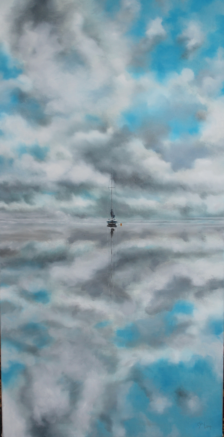 """""""Last Boat Out - Mirrors"""" - 48"""" x 24"""" - Oil on canvas, paper - 2013 : SOLD"""