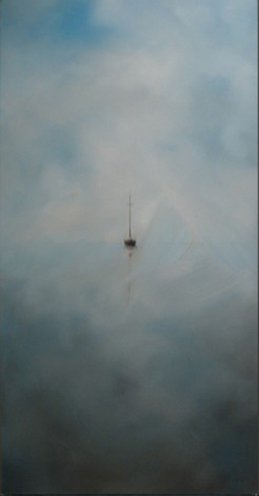 """""""Last Boat Out - Morning Mist"""" - 36"""" x 18"""" - Oil on canvas - 2006 : SOLD"""