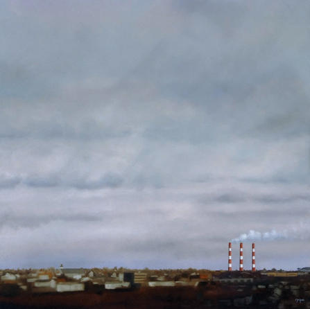"""""""Service Road - North End View Halifax"""" - 30"""" x 30"""" - Oil on canvas - 2005 : SOLD"""