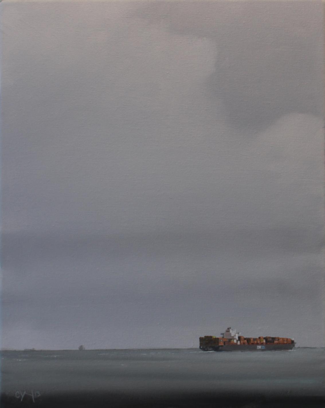 """""""Halifax Shipping Lane - Zim Mediterranean"""" - 11"""" x 14"""" - Oil on canvas - 2012 : SOLD"""
